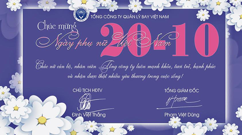 Lãnh đạo VATM chúc mừng ngày Phụ nữ Việt Nam 20-10.
