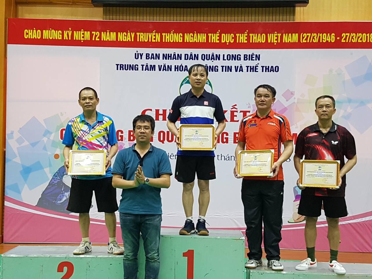 Kết quả tham gia giải Bóng bàn Cup 27/3 Quận Long Biên năm 2018