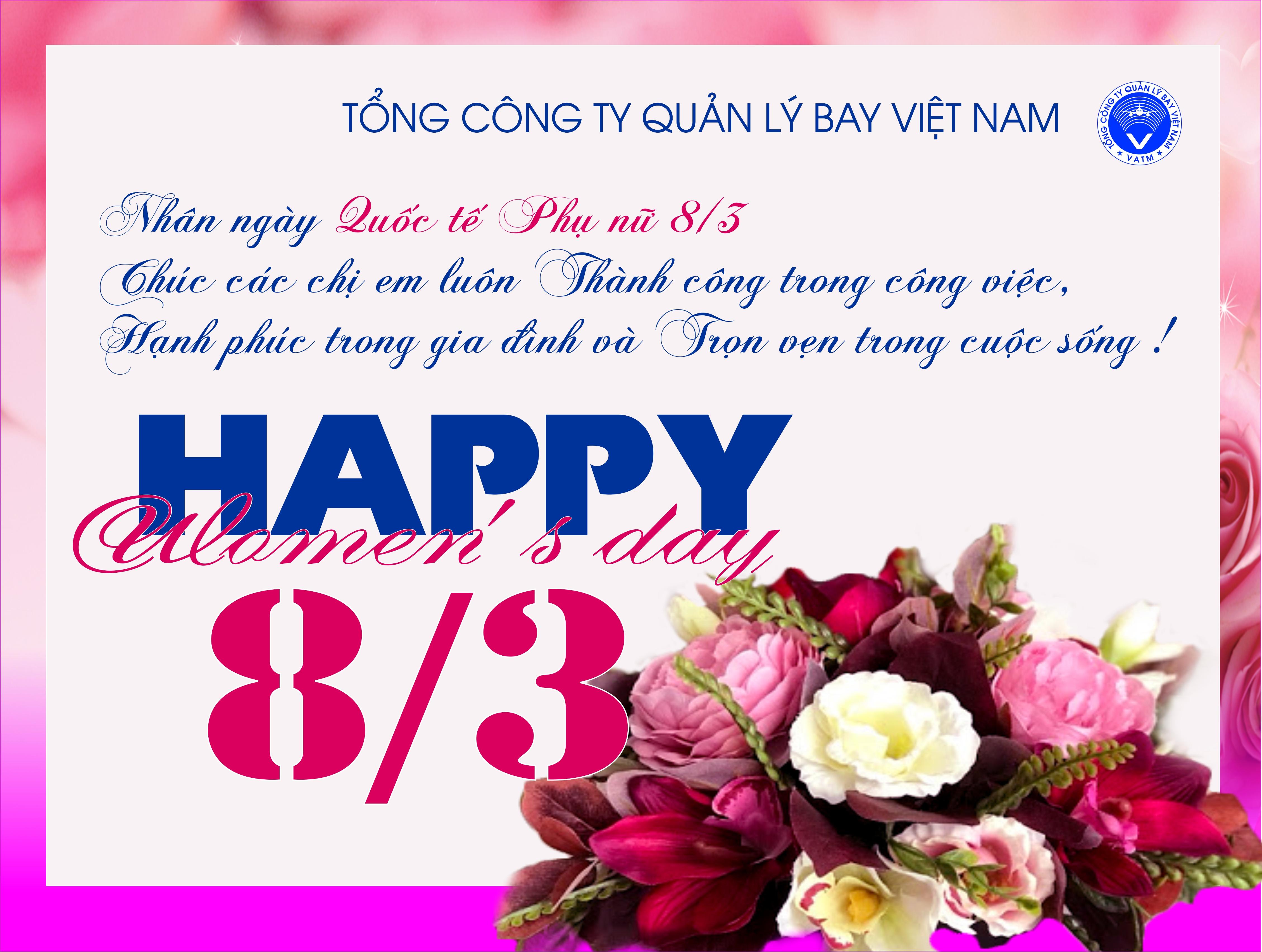 Lãnh đạo VATM gửi thư chúc mừng ngày Quốc tế Phụ nữ 8/3