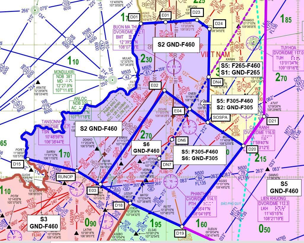 Chính thức thiết lập phân khu 6 Vùng thông báo bay Hồ Chí Minh
