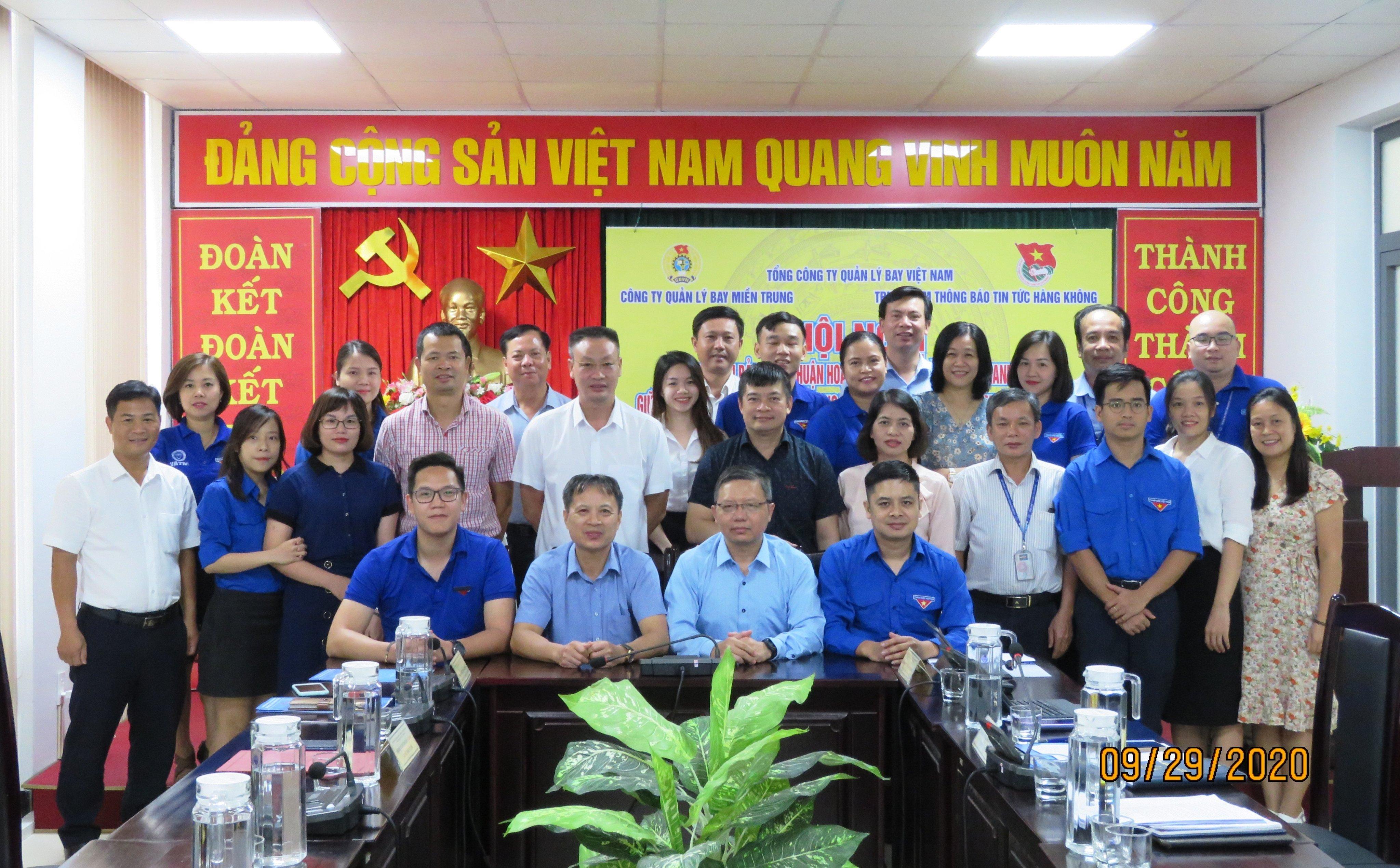 Ký kết Thỏa thuận phối hợp hoạt động Công đoàn và Đoàn Thanh niên giữa Công ty Quản lý bay miền Trung và Trung tâm Thông báo tin tức hàng không