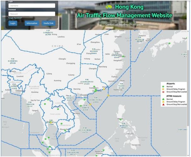 Trang web về Quản lý luồng không lưu (ATFM) của Hồng Công - Trung Quốc